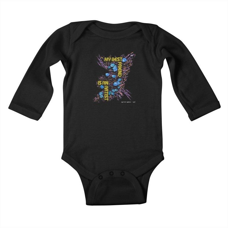 My Best Friend is an Artist Kids Baby Longsleeve Bodysuit by AntonAbela-Art's Artist Shop