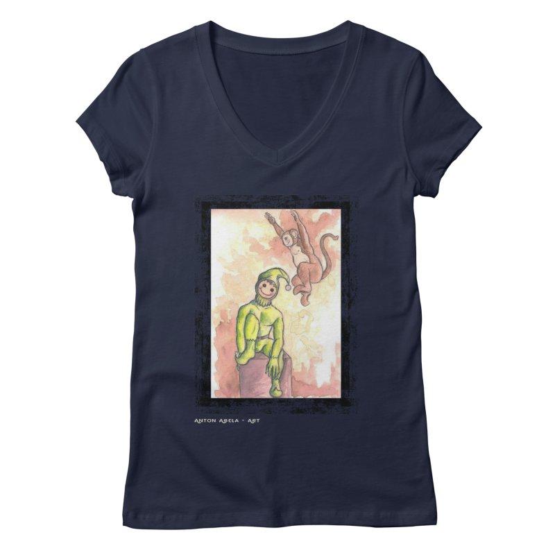 The Unexpected Leap Women's V-Neck by AntonAbela-Art's Artist Shop
