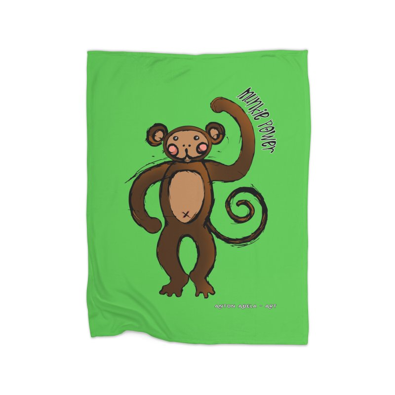 !! Munkie Power !! Home Fleece Blanket Blanket by AntonAbela-Art's Artist Shop