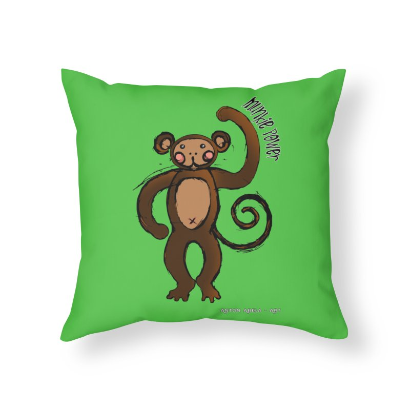 !! Munkie Power !! Home Throw Pillow by AntonAbela-Art's Artist Shop