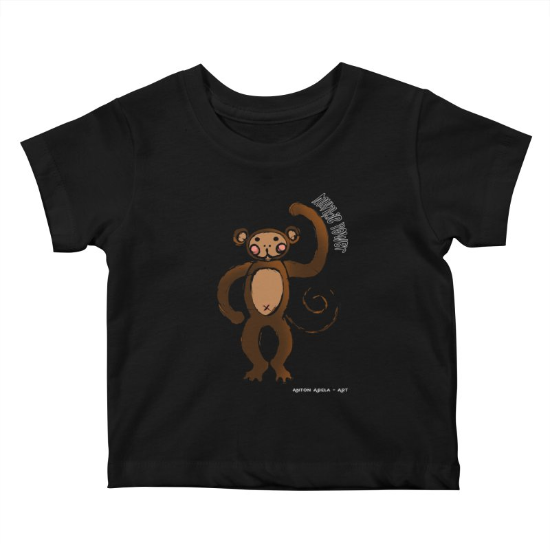 !! Munkie Power !! Kids Baby T-Shirt by AntonAbela-Art's Artist Shop