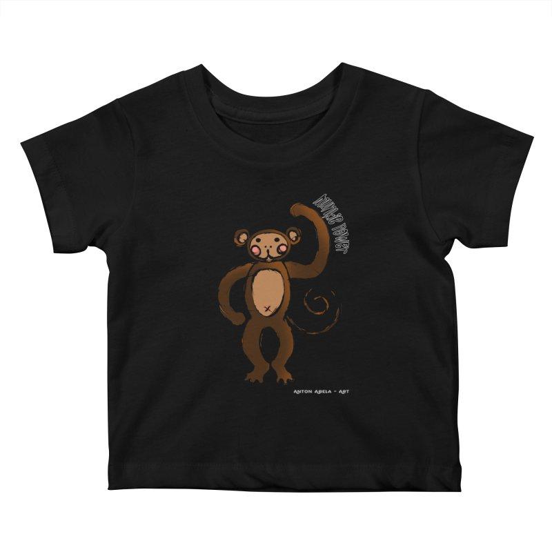 !! Munkie Power !! Kids Baby T-Shirt by AntonAbela-Art's Artist Shop