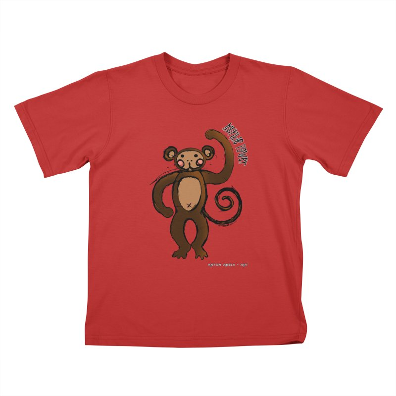 !! Munkie Power !! Kids T-Shirt by AntonAbela-Art's Artist Shop