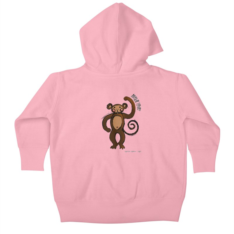!! Munkie Power !! Kids Baby Zip-Up Hoody by AntonAbela-Art's Artist Shop