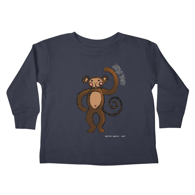 !! Munkie Power !! Kids Toddler Longsleeve T-Shirt by AntonAbela-Art's Artist Shop