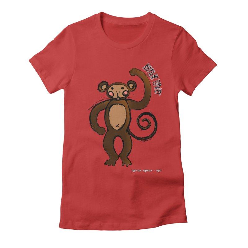 !! Munkie Power !! Women's Fitted T-Shirt by AntonAbela-Art's Artist Shop