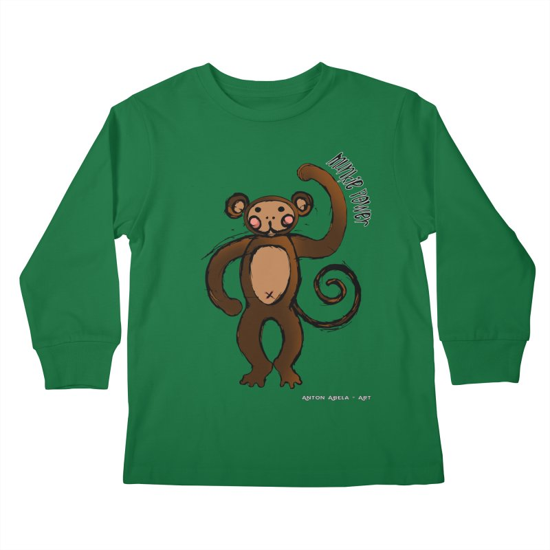 !! Munkie Power !! Kids Longsleeve T-Shirt by AntonAbela-Art's Artist Shop