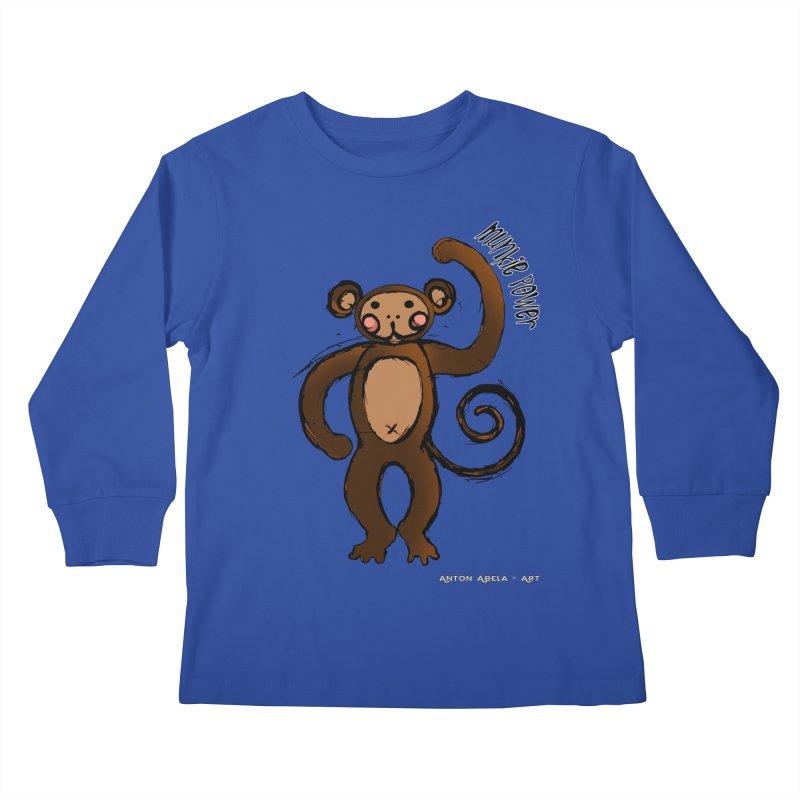 !! Munkie Power !! Kids Longsleeve T-Shirt by AntonAbela-Art's Artist Shop