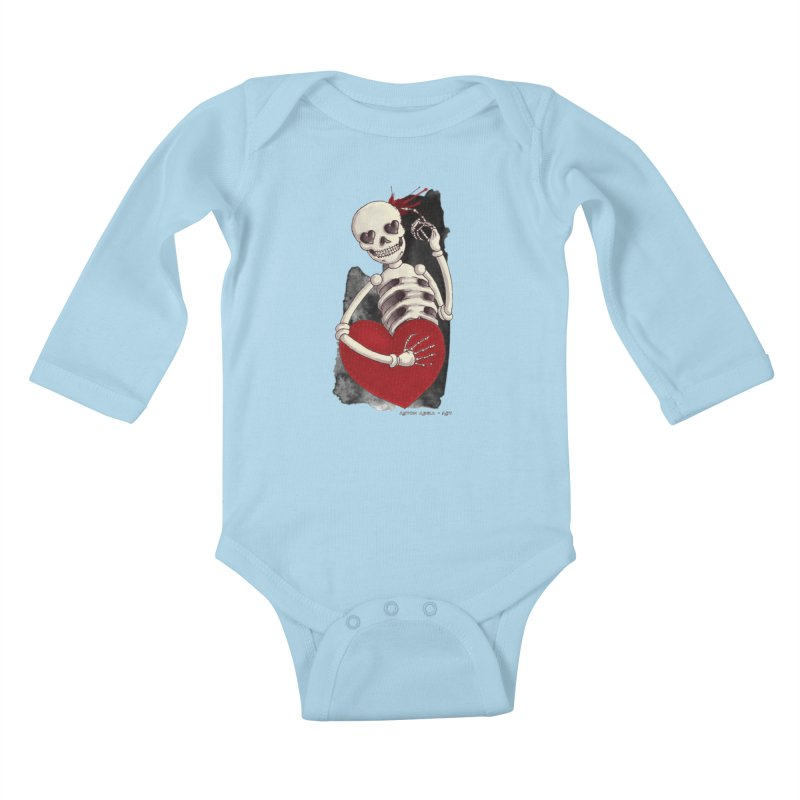 Grimly in Love Kids Baby Longsleeve Bodysuit by AntonAbela-Art's Artist Shop