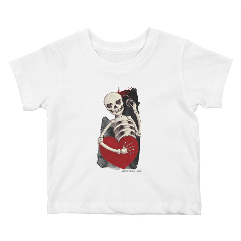 Grimly in Love Kids Baby T-Shirt by AntonAbela-Art's Artist Shop