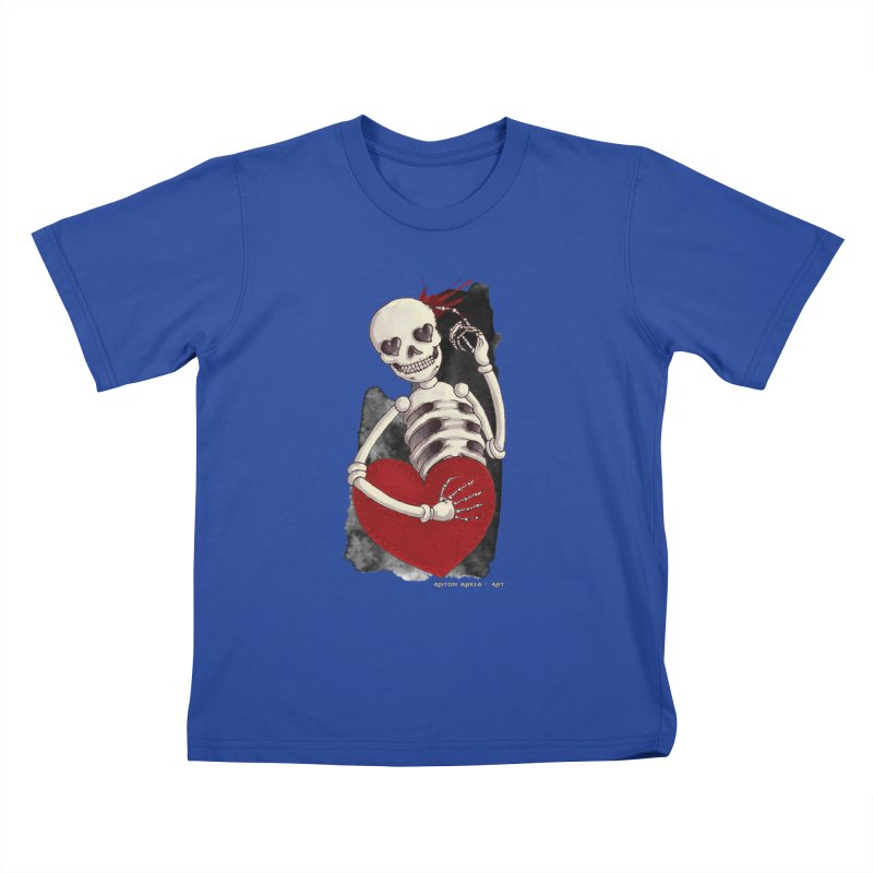Grimly in Love Kids T-Shirt by AntonAbela-Art's Artist Shop