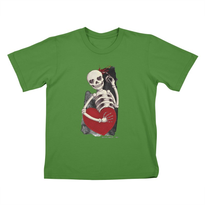 Grimly in Love Kids T-Shirt by AntonAbela-Art's Artist Shop