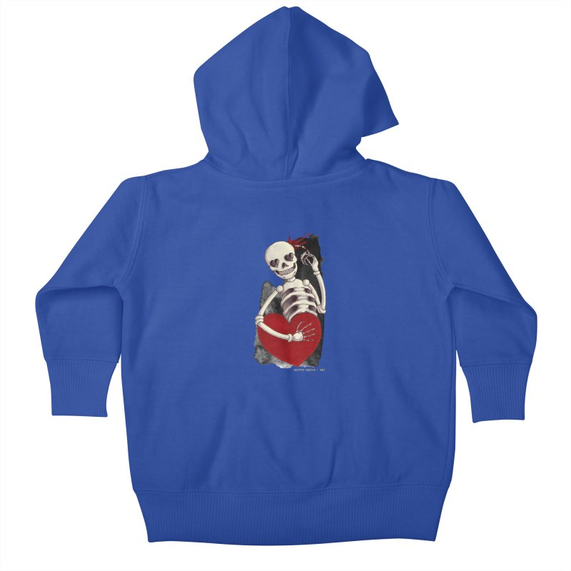 Grimly in Love Kids Baby Zip-Up Hoody by AntonAbela-Art's Artist Shop
