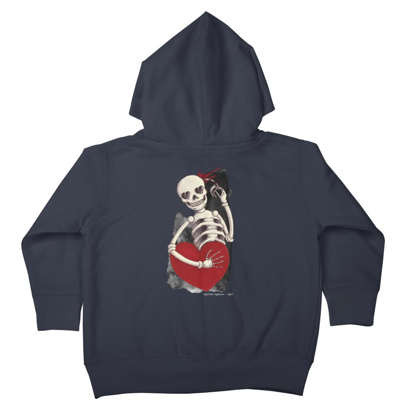 Grimly in Love Kids Toddler Zip-Up Hoody by AntonAbela-Art's Artist Shop