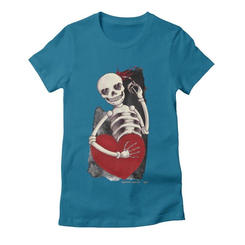 Grimly in Love Women's Fitted T-Shirt by AntonAbela-Art's Artist Shop