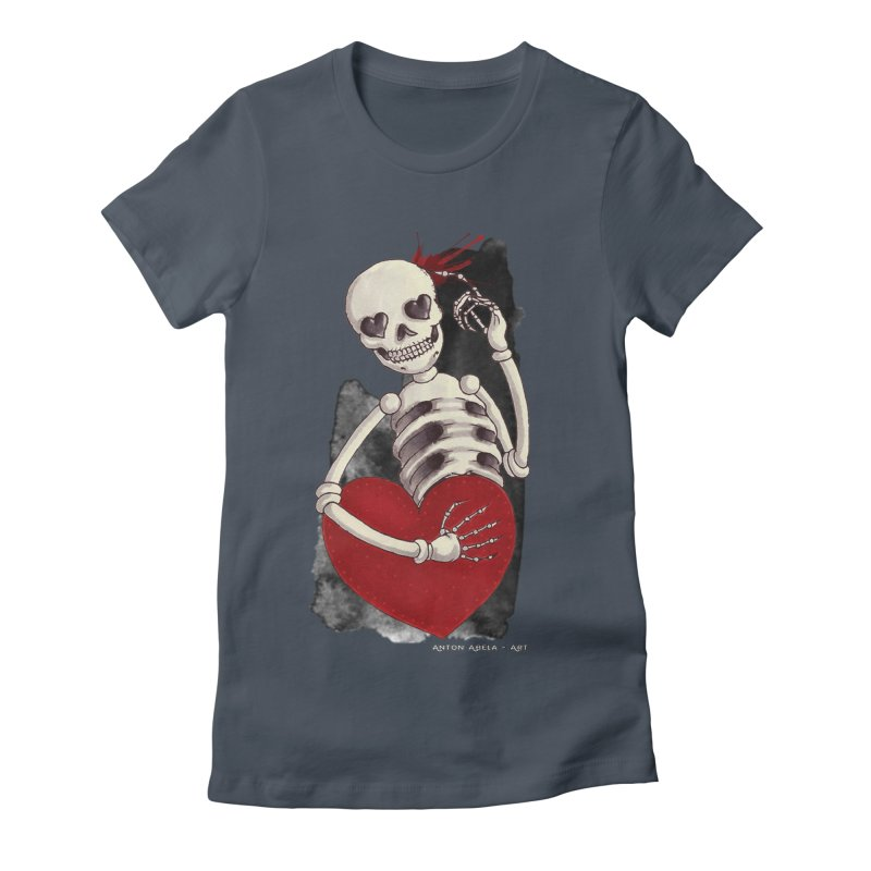 Grimly in Love Women's Fitted T-Shirt by AntonAbela-Art's Artist Shop