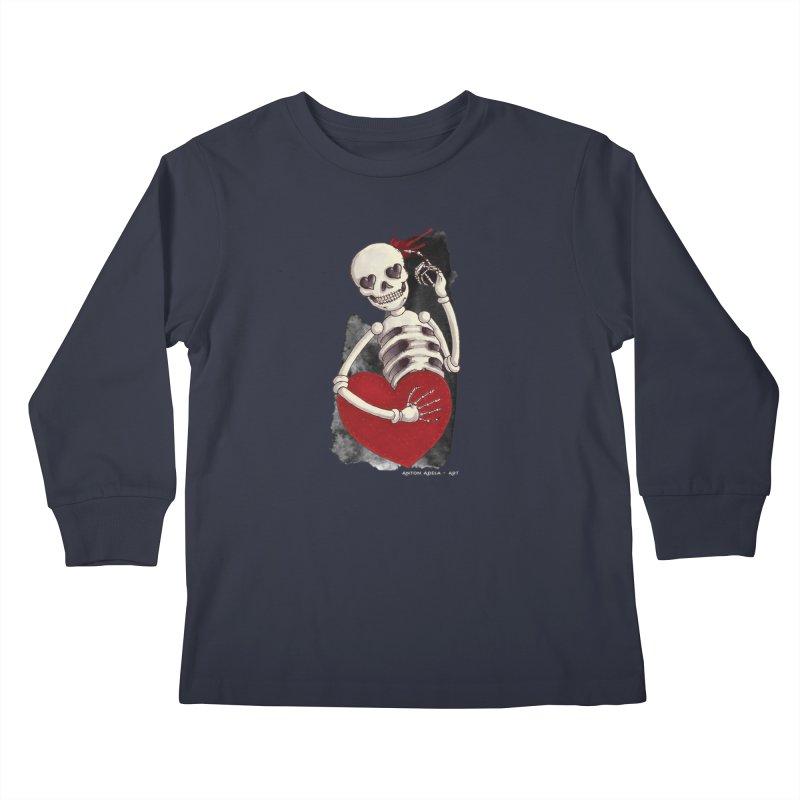 Grimly in Love Kids Longsleeve T-Shirt by AntonAbela-Art's Artist Shop
