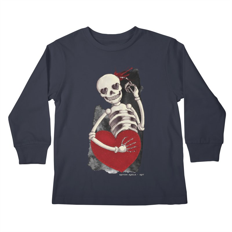 Grimly in Love Kids Longsleeve T-Shirt by AntonAbela-Art's Artist Shop
