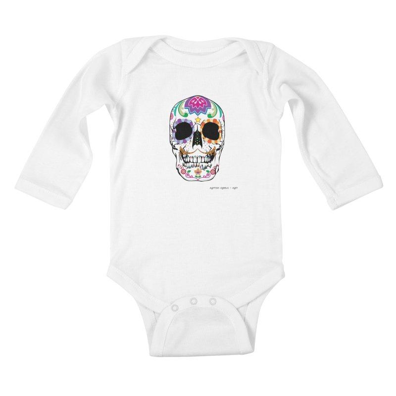 Calavera Kids Baby Longsleeve Bodysuit by AntonAbela-Art's Artist Shop