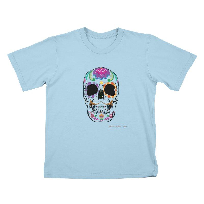 Calavera in Kids T-Shirt Powder Blue by AntonAbela-Art's Artist Shop