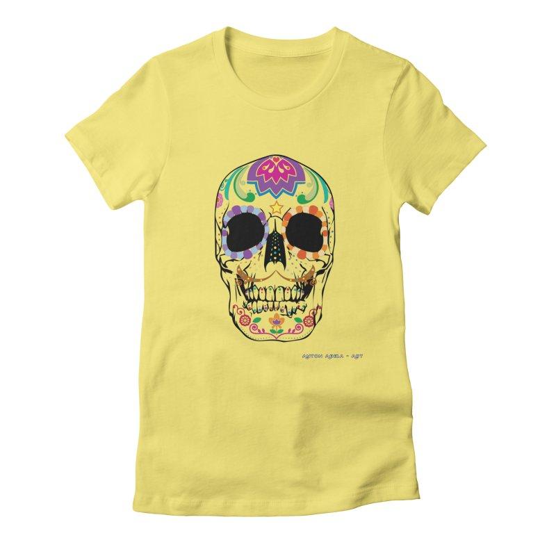 Calavera Women's Fitted T-Shirt by AntonAbela-Art's Artist Shop