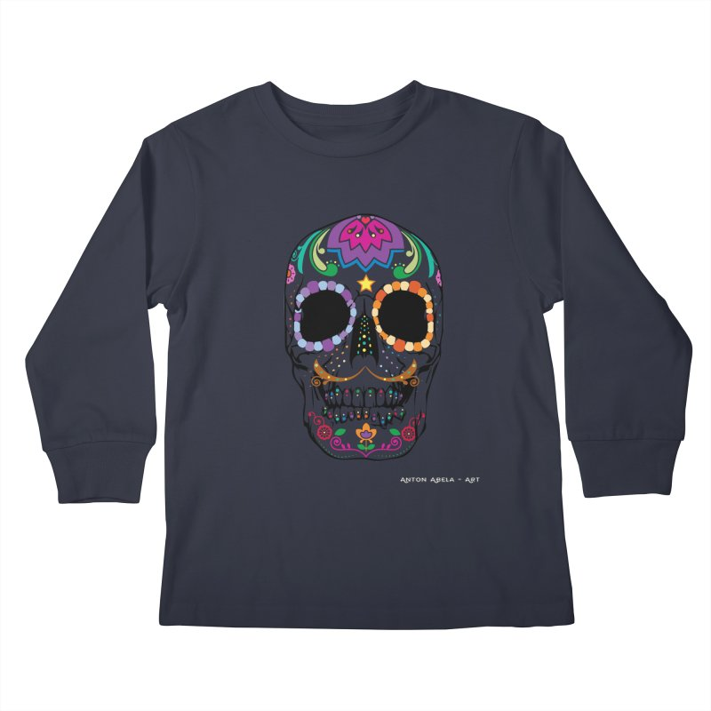 Calavera Kids Longsleeve T-Shirt by AntonAbela-Art's Artist Shop