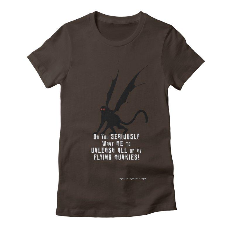 Soon Unleashing Flying Munkies! Women's Fitted T-Shirt by AntonAbela-Art's Artist Shop