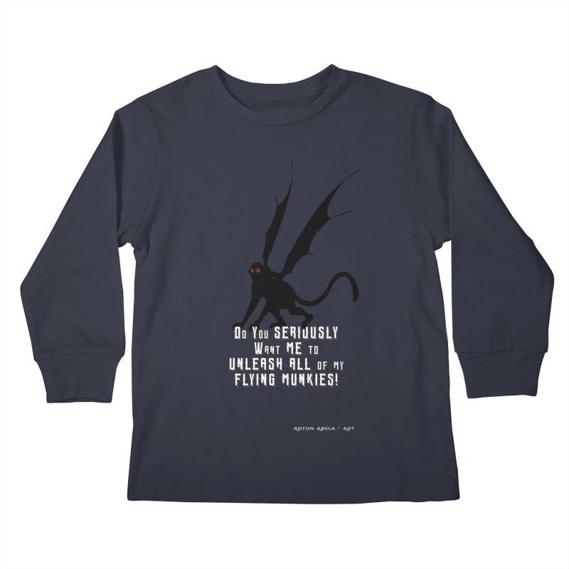 Soon Unleashing Flying Munkies! Kids Longsleeve T-Shirt by AntonAbela-Art's Artist Shop