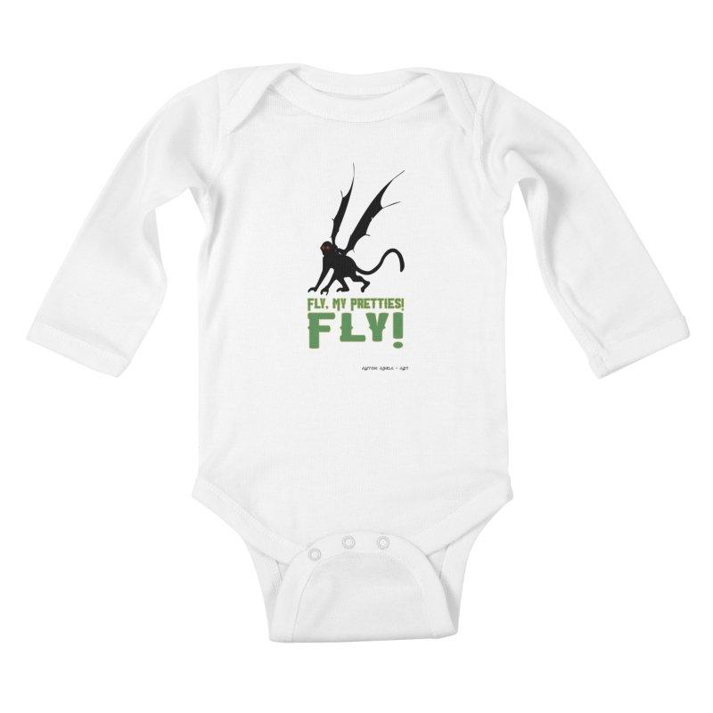 Fly My Pretties! Kids Baby Longsleeve Bodysuit by AntonAbela-Art's Artist Shop
