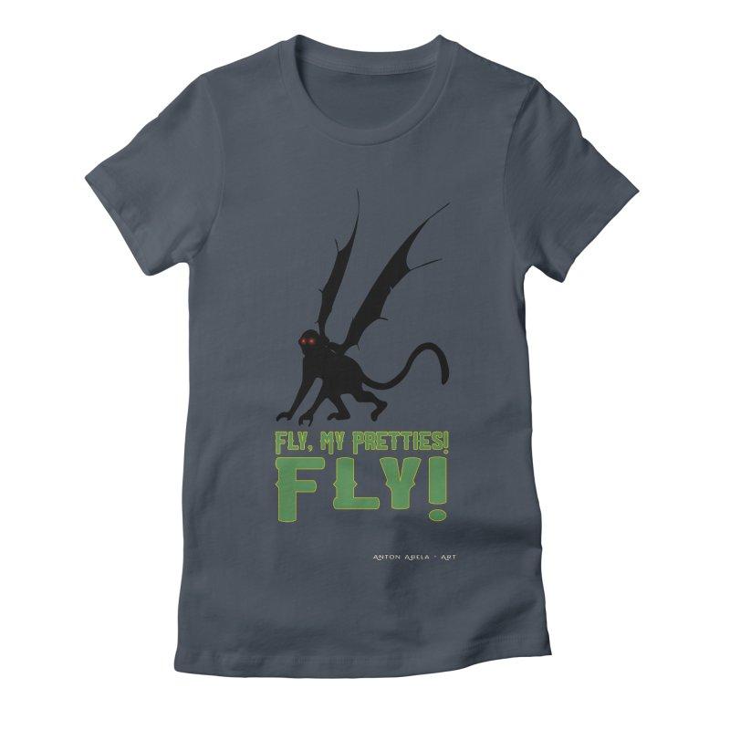 Fly My Pretties! Women's Fitted T-Shirt by AntonAbela-Art's Artist Shop