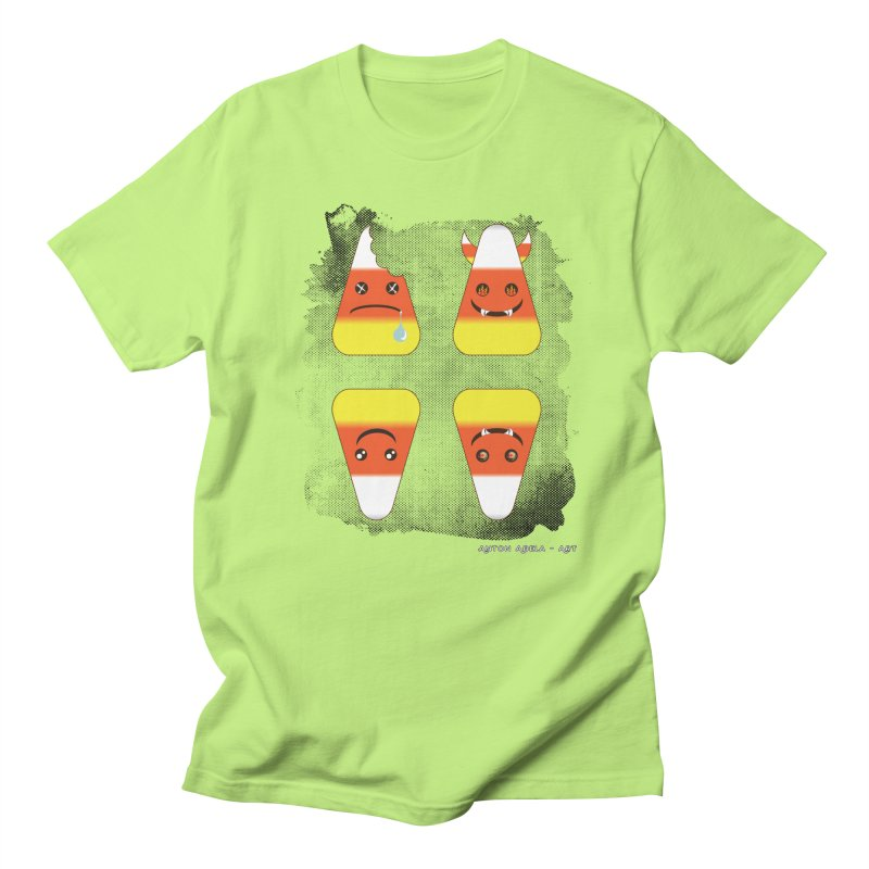 4 Candy Corns in Men's Regular T-Shirt Neon Green by AntonAbela-Art's Artist Shop
