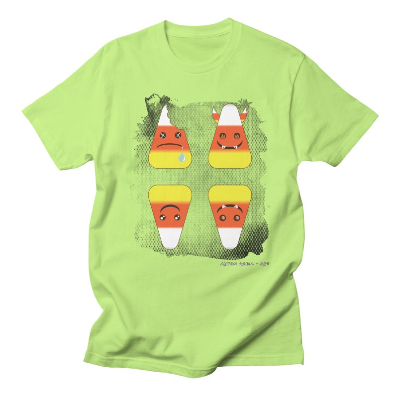 4 Candy Corns in Men's T-Shirt Neon Green by AntonAbela-Art's Artist Shop