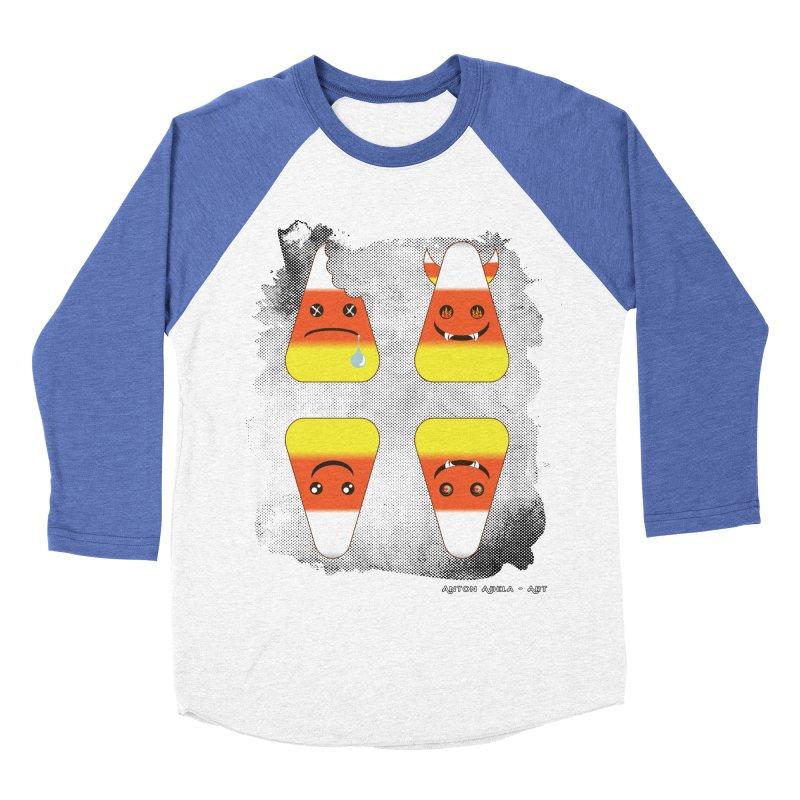 4 Candy Corns Men's Baseball Triblend Longsleeve T-Shirt by AntonAbela-Art's Artist Shop