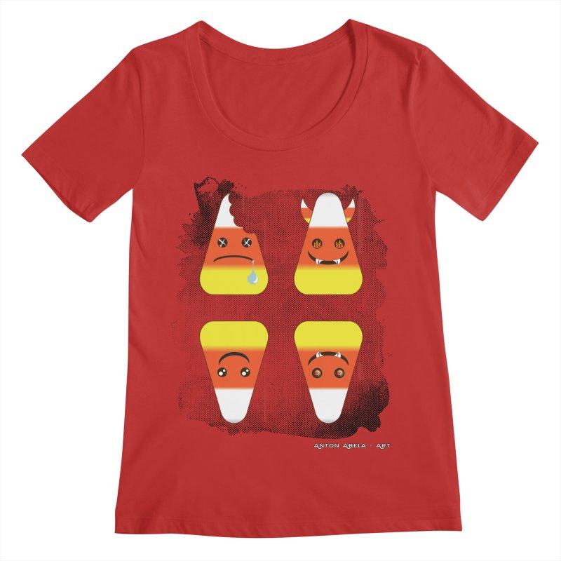 4 Candy Corns Women's Regular Scoop Neck by AntonAbela-Art's Artist Shop