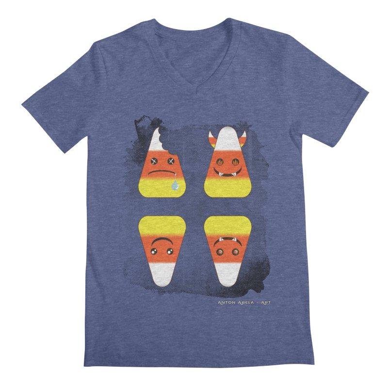 4 Candy Corns Men's Regular V-Neck by AntonAbela-Art's Artist Shop