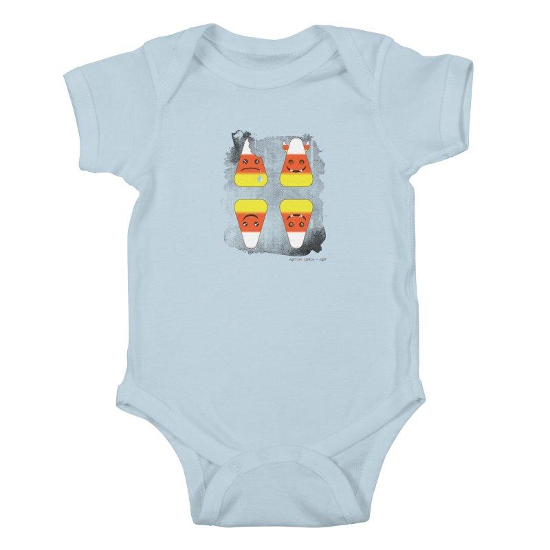 4 Candy Corns Kids Baby Bodysuit by AntonAbela-Art's Artist Shop