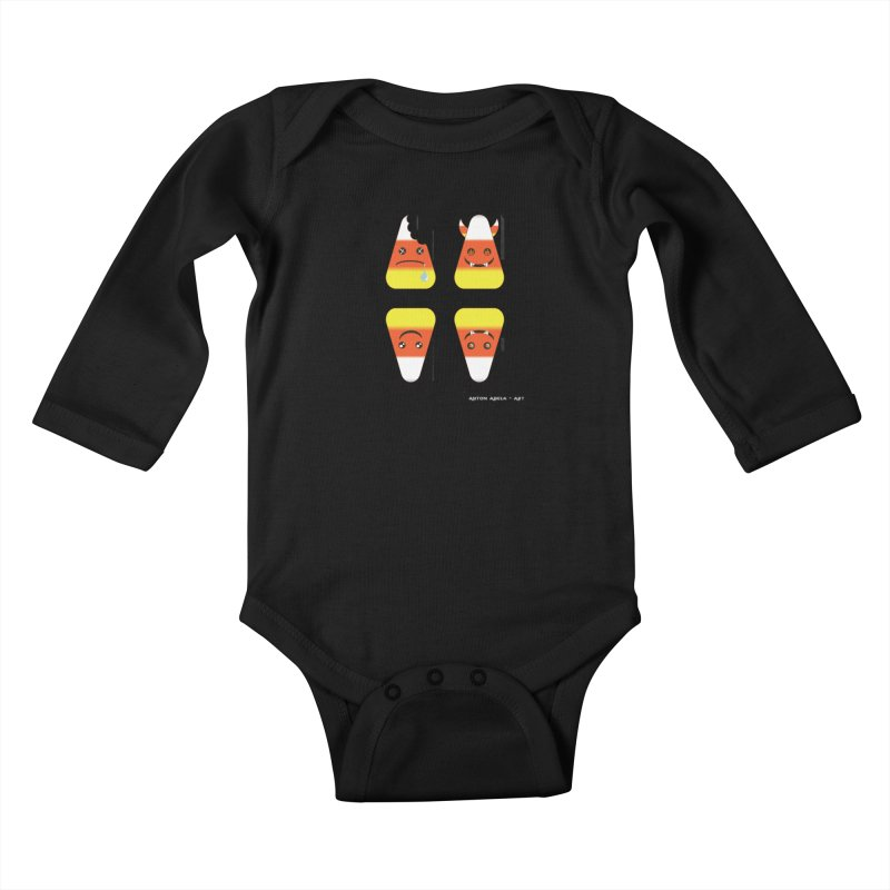 4 Candy Corns Kids Baby Longsleeve Bodysuit by AntonAbela-Art's Artist Shop
