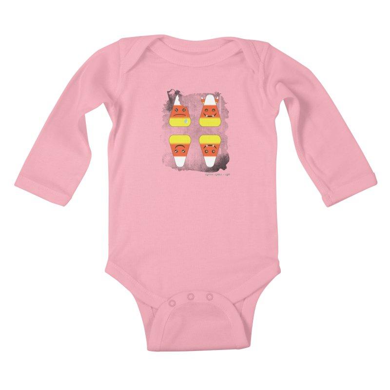 4 Candy Corns Kids Baby Longsleeve Bodysuit by AntonAbela-Art's Artist Shop
