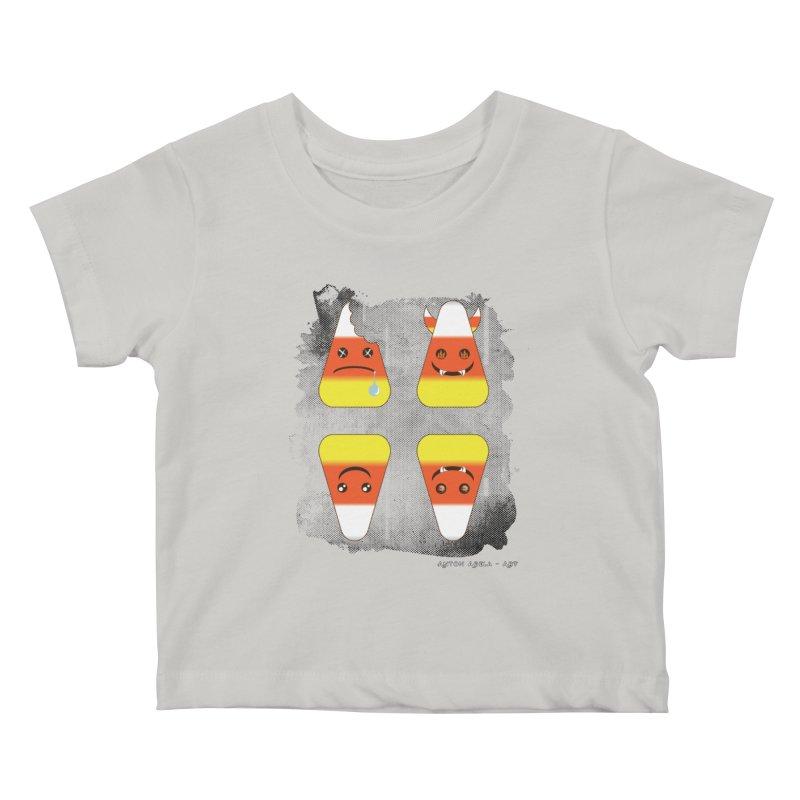 4 Candy Corns Kids Baby T-Shirt by AntonAbela-Art's Artist Shop