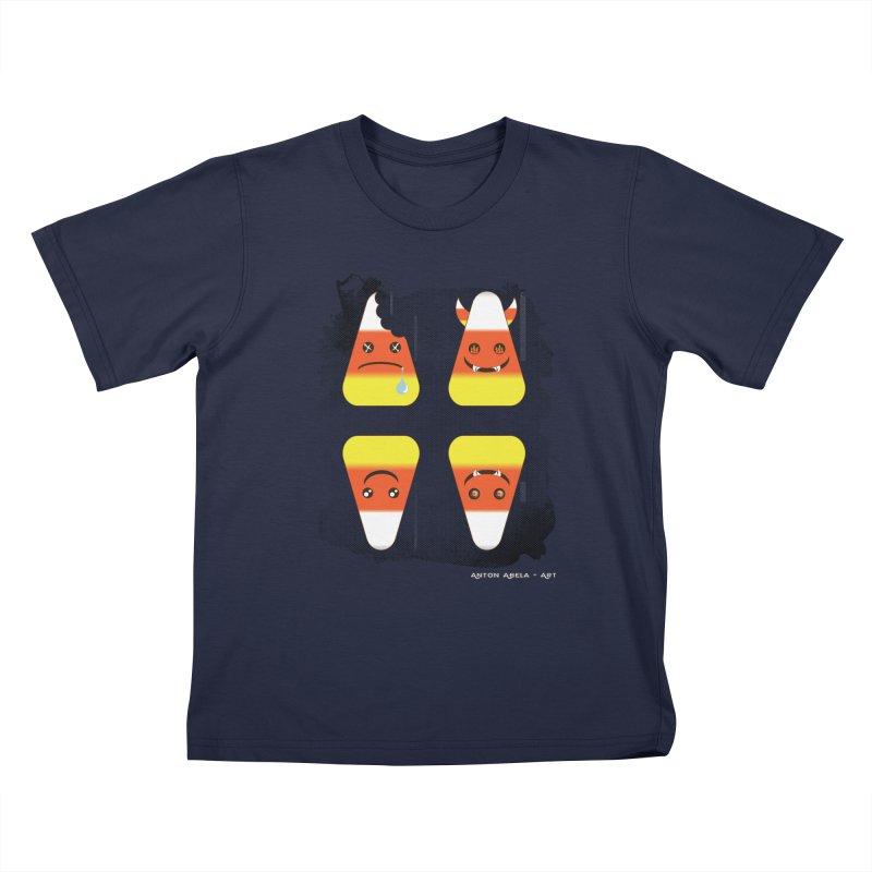 4 Candy Corns Kids T-Shirt by AntonAbela-Art's Artist Shop