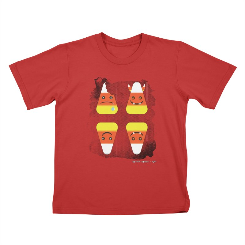 4 Candy Corns Kids T-Shirt by AntonAbela-Art's Artist Shop