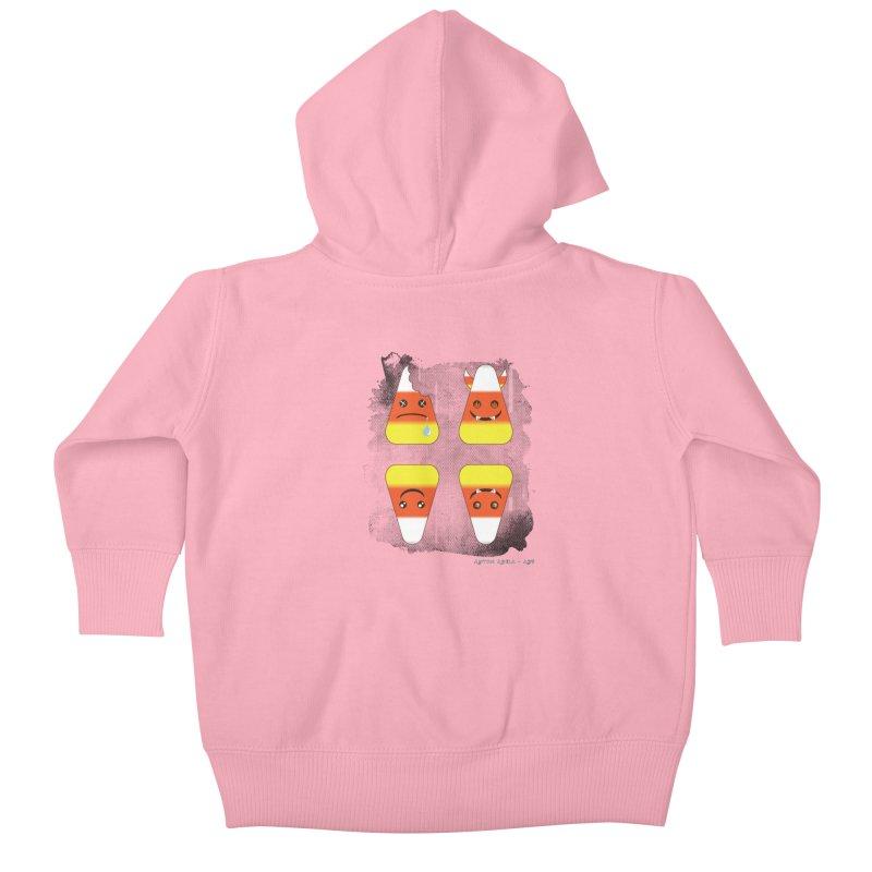 4 Candy Corns Kids Baby Zip-Up Hoody by AntonAbela-Art's Artist Shop