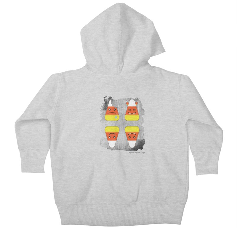 4 Candy Corns Kids Baby Zip-Up Hoody by AntonAbela-Art's Artist Shop