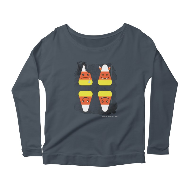 4 Candy Corns Women's Scoop Neck Longsleeve T-Shirt by AntonAbela-Art's Artist Shop