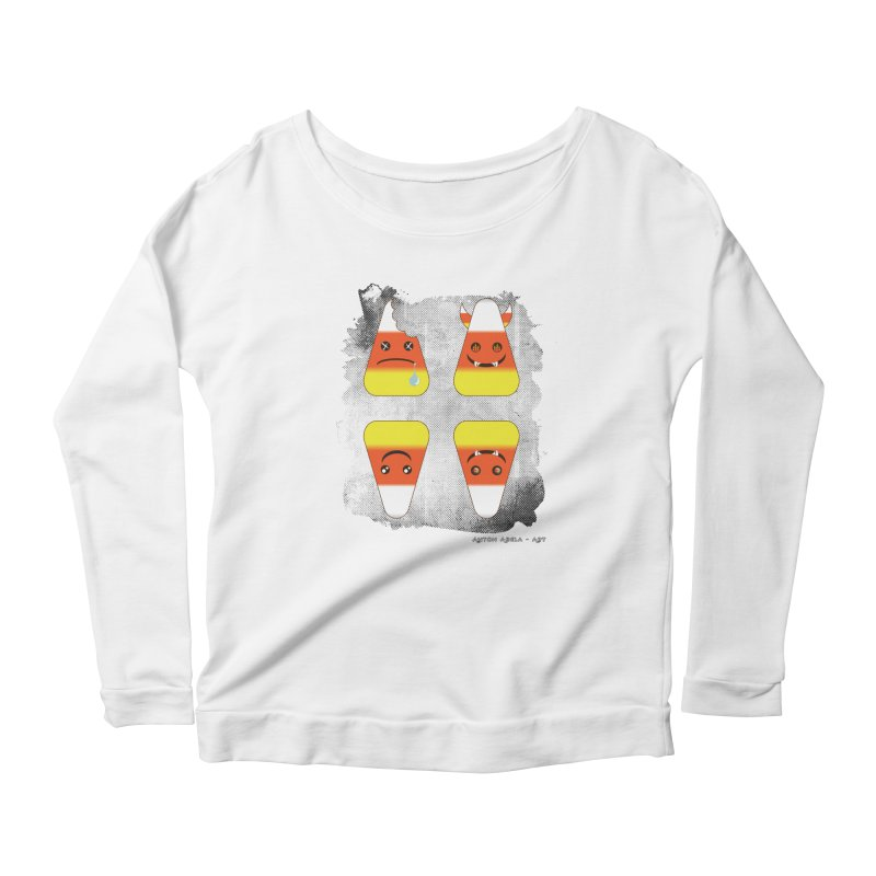 4 Candy Corns Women's Scoop Neck Longsleeve T-Shirt by AntonAbela-Art's Artist Shop