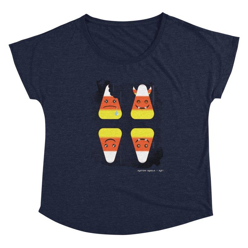 4 Candy Corns Women's Scoop Neck by AntonAbela-Art's Artist Shop