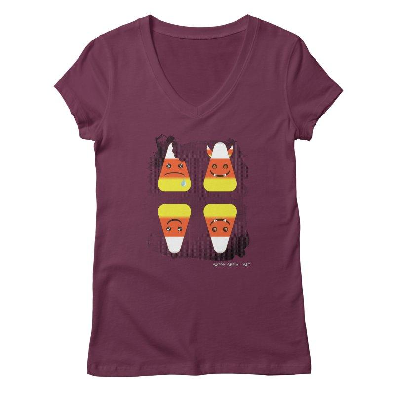 4 Candy Corns Women's Regular V-Neck by AntonAbela-Art's Artist Shop
