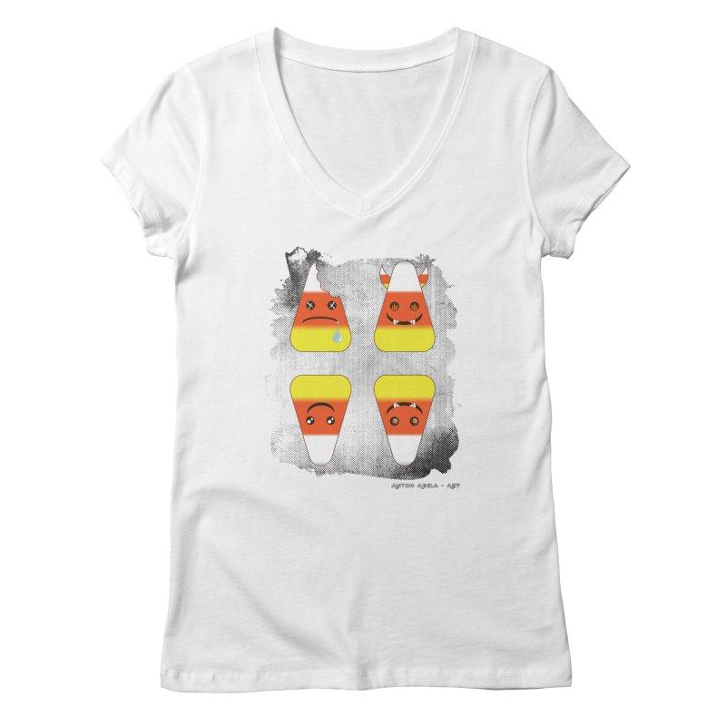 4 Candy Corns Women's V-Neck by AntonAbela-Art's Artist Shop