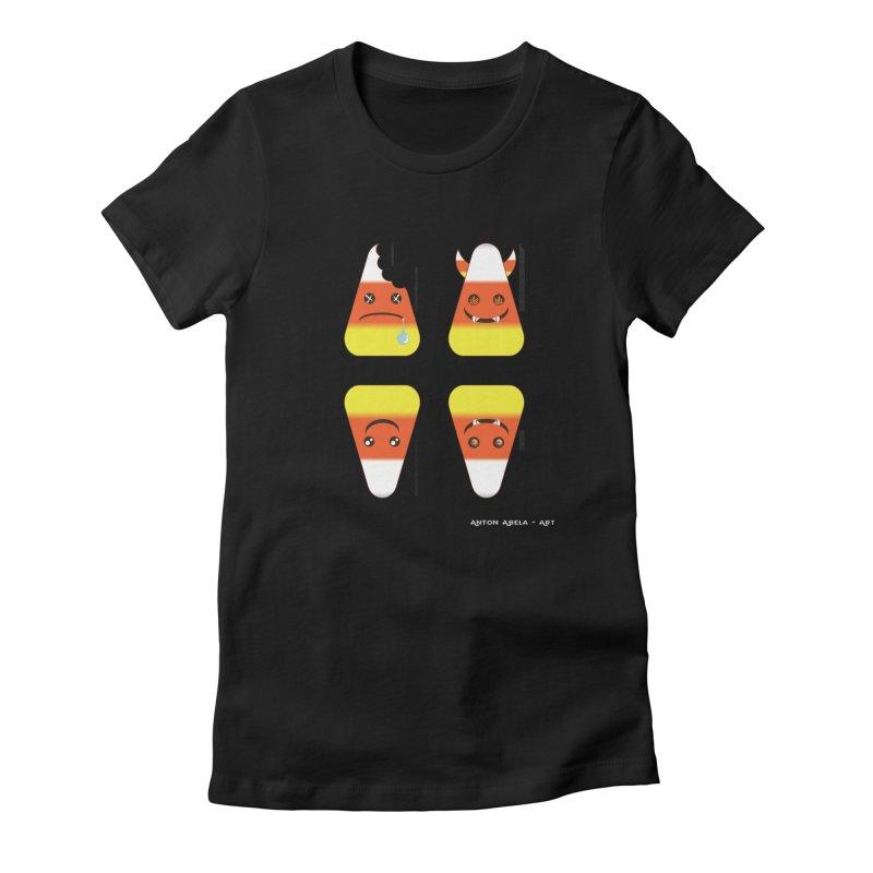 4 Candy Corns Women's Fitted T-Shirt by AntonAbela-Art's Artist Shop