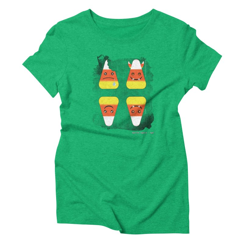 4 Candy Corns Women's Triblend T-Shirt by AntonAbela-Art's Artist Shop
